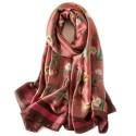 Foulard Fleurs 180 X 60 cm 100% Soie Rose motif Floral