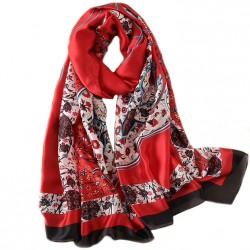 Foulard Fleurs 180 X 90 cm 100% Soie rouget à motif
