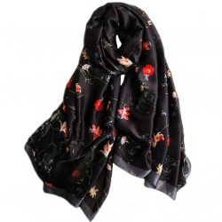Foulard Noir 180 X 90 cm 100% Soie