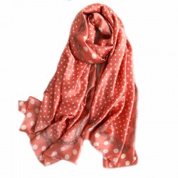 Foulard rouge 180 X 90 cm 100% Soie à motifs Jungle