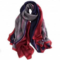 Foulard 180 X 90cm 100% Soie à motif Rouge et bleu