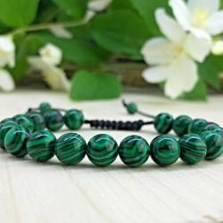 Bracelet tressé Shamballa Perles Naturelles Agate paon - Homme Femme - Lithothérapie