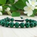 Bracelet tressé Perles Naturelles Agate Paon - Homme Femme - Lithothérapie