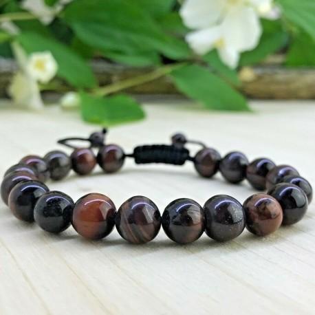 Bracelet tressé Shamballa Perles Naturelles Oeil de Tigre rouge - Homme Femme - Lithothérapie