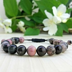 Bracelet tressé Perles Naturelles Rhodonite - Homme Femme - Lithothérapie