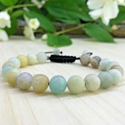Bracelet tressé Shamballa Perles Naturelles Amazonite - Homme Femme - Lithothérapie