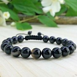 Bracelet tressé Shamballa Perles Naturelles Agate noire - Homme Femme - Lithothérapie