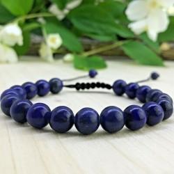 Bracelet tressé Shamballa Perles Naturelles Lapis Lazuli - Homme Femme - Lithothérapie