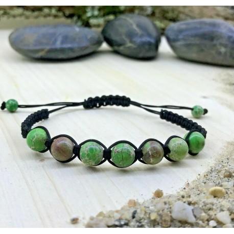 Bracelet tressé Perles Naturelles Jaspe Impérial - Homme Femme - Lithothérapie