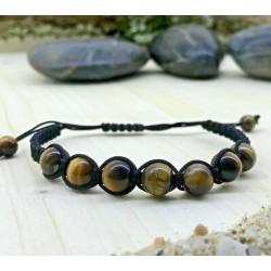 Bracelet tressé Shamballa Perles Naturelles oeil du tigre - Homme Femme - Lithothérapie