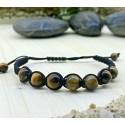 Bracelet tressé Perles Naturelles Oeil du Tigre - Homme Femme - Lithothérapie