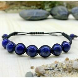 Bracelet tressé Perles Naturelles Lapis Lazuli - Homme Femme - Lithothérapie
