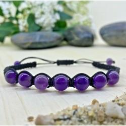 Bracelet tressé Shamballa Perles Naturelles Améthyste - Homme Femme - Lithothérapie
