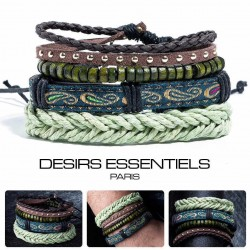 Ensemble 4 Bracelets  Cuir tressé - Tissage - Perles Bois