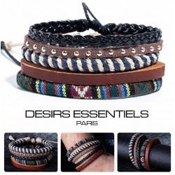 Ensemble 4 Bracelets Homme Femme Cuir tressé - corde - Tissage