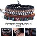 Ensemble 4 Bracelets  Cuir tressé - corde - Tissage -