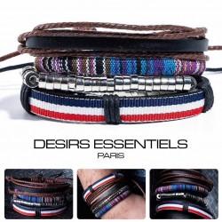 Ensemble 4 Bracelets  Cuir tressé  - Tissage - Perles Bois - Corde