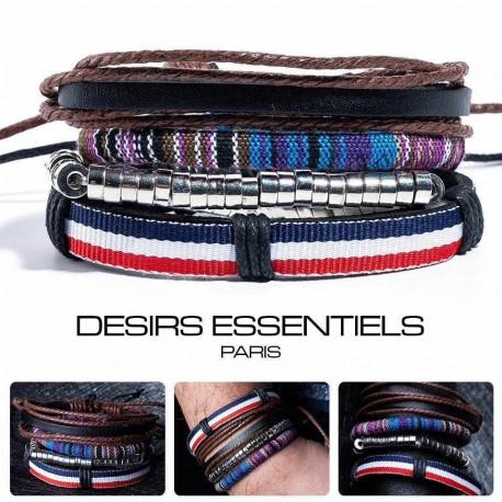 Ensemble 4 Bracelets  Cuir tressé  - Tissage - Perles  - Corde