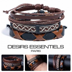 Ensemble 4 Bracelets  Cuir tressé - Tissage  - Corde