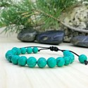 Bracelet tressé Shamballa Perles Naturelles Howlite Turquoise - Homme Femme - Lithothérapie