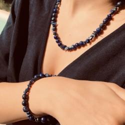 Parure Collier + Bracelet Pierres Naturelles Lapis Lazuli - Idéal Cadeau
