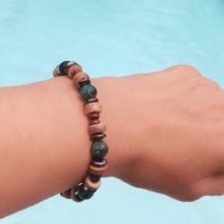 Bracelet Homme Femme Turquoise d'Afrique Hématite bois Tibet Lithothérapie