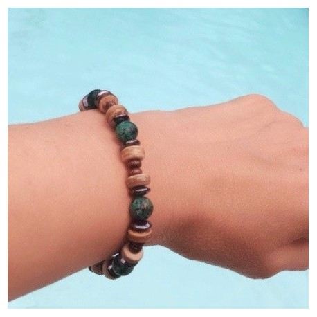 Bracelet Homme Femme Turquoise d/'Afrique Hématite bois Tibet Lithothérapie