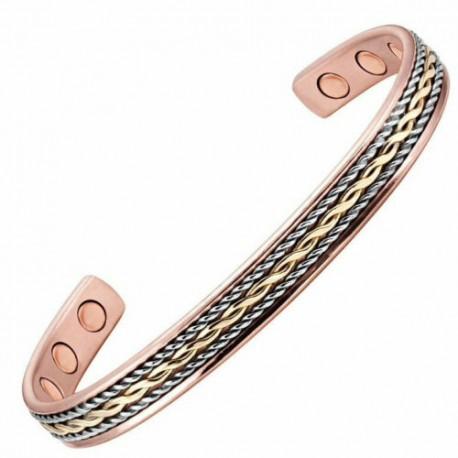 Bracelet magnétique cuivre avec 6 aimants