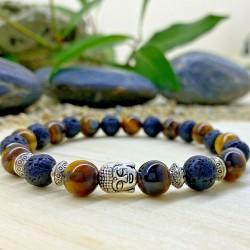Bracelet Homme Femme Oeil de Tigre pierre de lave Naturelles