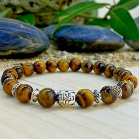 Bracelet Homme Femme Oeil de Tigre pierre de lave Naturelles Bouddha - Tibet