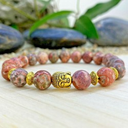Bracelet Homme femme Jaspe Leopard - Bouddha -Tibet - Pierres naturelles Lithothérapie