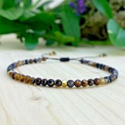 Bracelet de sérénité Tibétain perles de cuivre et oeil de tigre