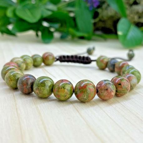 Bracelet tressé Tibétain perles Unakite
