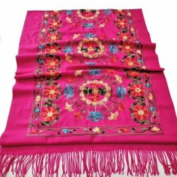Grand Châle Fuchsia - Cachemire broderie Pashmina - Foulard - Etole 200 X 70