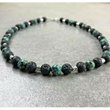 Collier + bracelet Homme Femme Turquoise d'Afrique Pierre de Lave Tibet