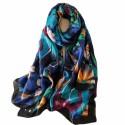 Foulard bleu 180 X 90 cm 100% à motifs Jungle