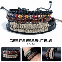 Ensemble 4 Bracelets Homme Femme Cuir tressé - Perles et Bois