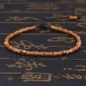 Bracelet sculpté en noyaux d'olives et perles de cuivre Bouddhisme - Tibétain