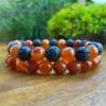 2 Bracelets Cornaline - Pierre de lave Naturelles