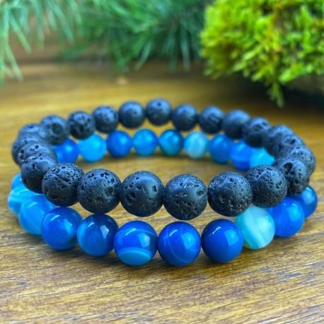 2 Bracelets agate bleue Pierre de lave Naturelles