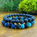 2 Bracelets  Agate bleue - Pierre de lave Naturelles