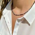 Collier en Perles Naturelles Obsidienne flocon - Lithothérapie - Ras de cou