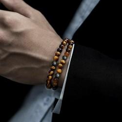 2 Bracelets  Pierre de lave - Oeil du Tigre Naturelles