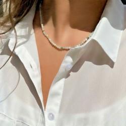 Collier en Perles Naturelles Amazonite Lithothérapie - Ras de cou