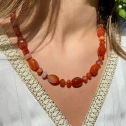 Collier en Perles Naturelles pierres Agate Indienne