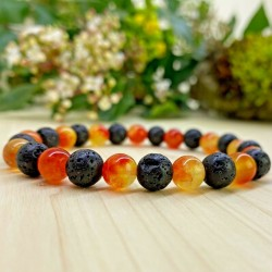 Bracelet Quartz orange Pierres Naturelles pierre de lave
