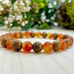 Bracelet Quartz orange Pierres Naturelles bois
