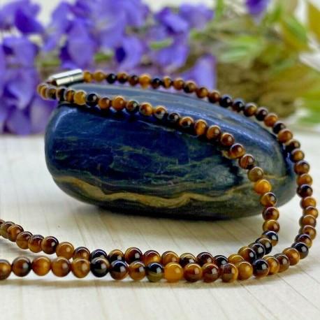 Collier en Perles Naturelles pierres Oeil du Tigre - Lithothérapie - Ras de cou