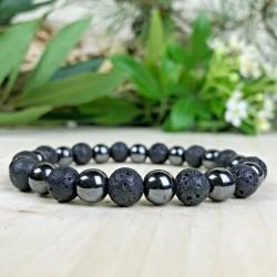 Bracelet hématite - pierre de lave