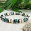 Bracelet  Pierres Turquoise d'Afrique Hématite bois